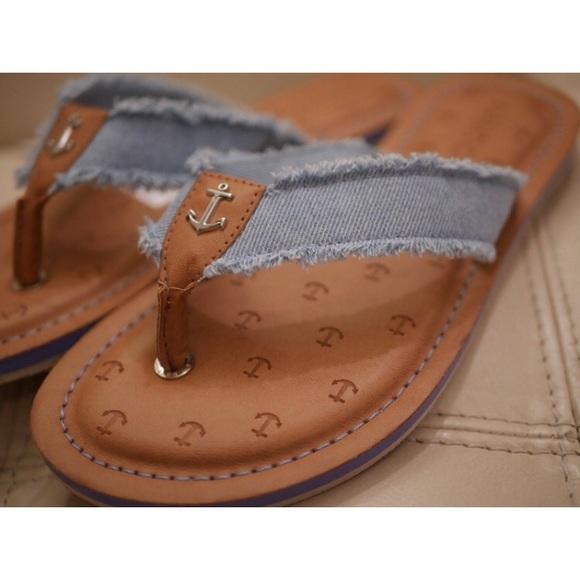 4c96a12be2c NWT Nautica Jean Frayed Denim Gulf Breeze Sandals!